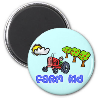 Bauernhof-Kinderknopf mit Traktor Runder Magnet 5,7 Cm