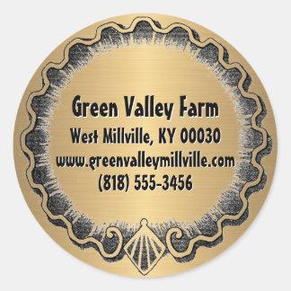 Bauernhof-Markt-Goldglas-Kappen-Adressen-Etikett Runder Aufkleber