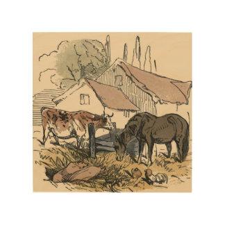 Bauernhof mit Kuh und Pferd Holzdruck
