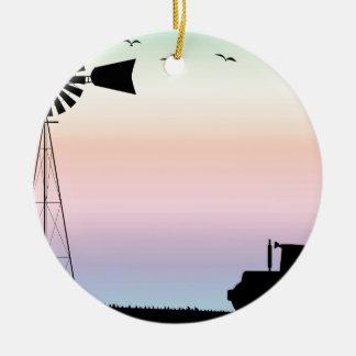 Bauernhof-Morgen-Himmel Keramik Ornament