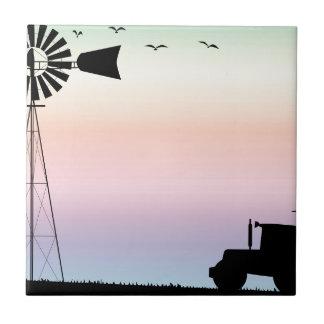 Bauernhof-Morgen-Himmel Keramikfliese