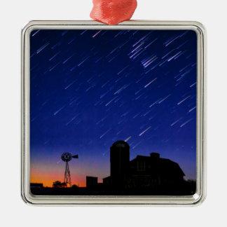 Bauernhof-Sterne Quadratisches Silberfarbenes Ornament
