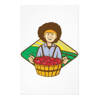 Bauers-Jungen-Strohhut-Tomate-Ernte Briefpapier