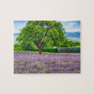 Baum auf dem Lavendel-Gebiet, Frankreich Puzzle