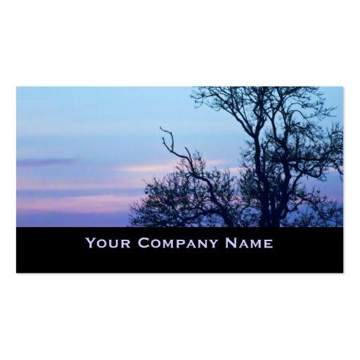 Baum auf ein Pastellhimmel Silhouette-Geschäfts-Ka Visitenkarte
