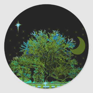 Baum-Blues Runder Aufkleber