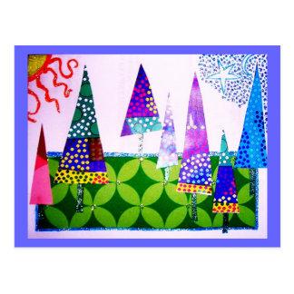 Baum-Collage, frohe Feiertage Postkarte
