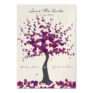 Baum der Herz-lila Save the Date Karte 8,9 X 12,7 Cm Einladungskarte