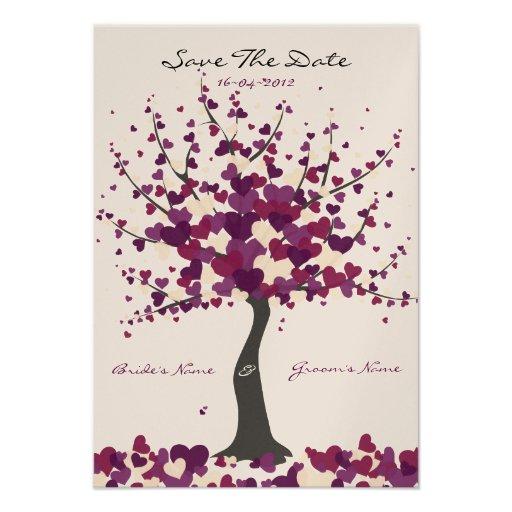 Baum der Herz-lila Save the Date Karte Ankündigung