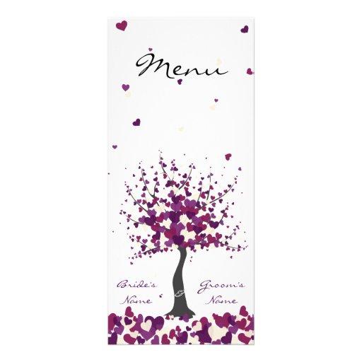 Baum der Herzen - lila Hochzeits-Menü Personalisierte Werbekarte