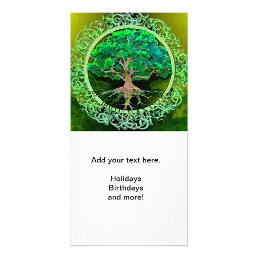 Baum der Leben-Gesundheit und des Wohlstandes Foto Karten Vorlage