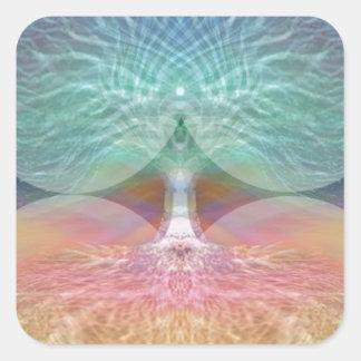 Baum der Leben-Regenbogen-Herzen Quadratischer Aufkleber