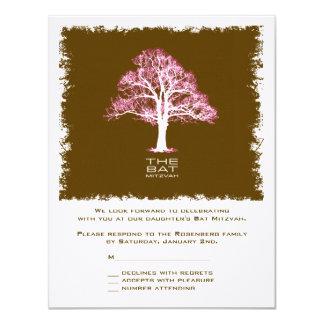 Baum der Leben-Schläger Mitzvah Antwort-Karte, 10,8 X 14 Cm Einladungskarte