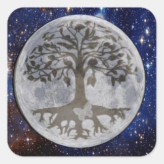 Baum des Leben-Mond-Schattens Quadratischer Aufkleber