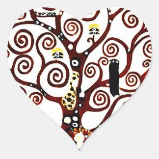 Baum des Lebens Herz-Aufkleber