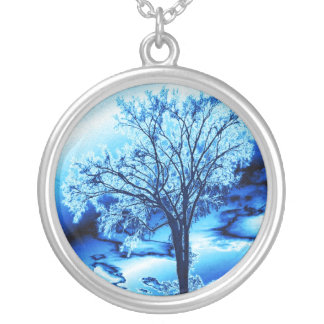 Baum des Lebens in der Eis-Blau-Halskette Versilberte Kette