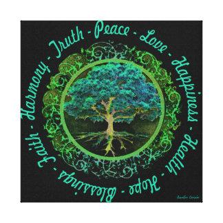 Baum des Lebens mit mit positiven Wörtern Leinwanddruck