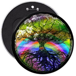Baum des Lebens mit Regenbogen-Herzen Runder Button 15,3 Cm