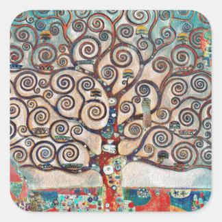 Baum des Lebens mit Vögeln Quadratischer Aufkleber