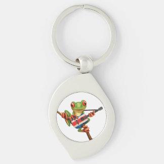 Baum-Frosch, der Costa Rica-Flaggen-Gitarren-Weiß Schlüsselanhänger