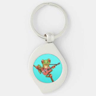 Baum-Frosch, der Ontario-Flaggen-Gitarren-Blau Schlüsselanhänger