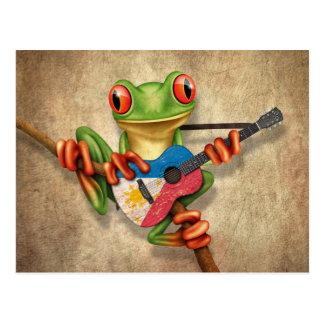 Baum-Frosch, der philippinische Flaggen-Gitarre Postkarte