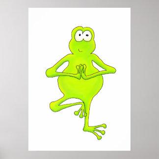 Baum-Frosch-Yoga-Baum-Pose-Kunst-Druck Poster