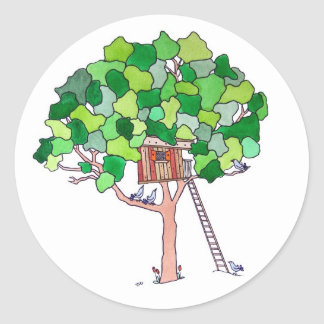 Baum-Haus Runder Aufkleber