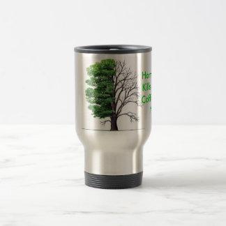 Baum, Hausaufgaben tötet Bäume, Coffe tut nicht Edelstahl Thermotasse