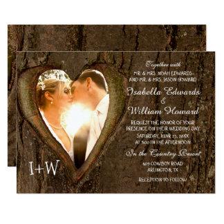 Baum-Herz-rustikale Hochzeit mit Ihrem Foto Karte