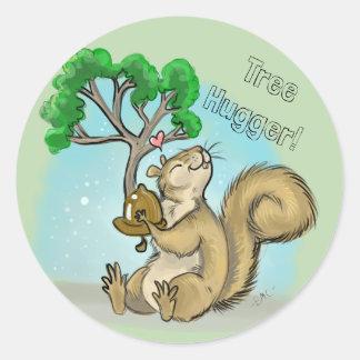 Baum Hugger! Eichhörnchen Runder Aufkleber