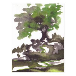 Baum im Sommer-Aquarell Postkarte
