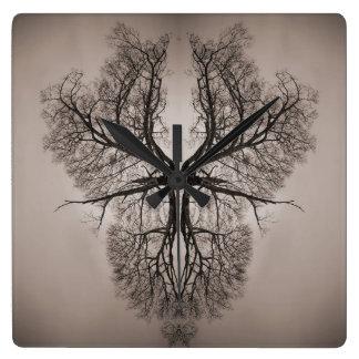 Baum-Kunst Quadratische Wanduhr