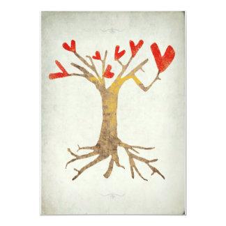 Baum mit Herz- und Wurzelfamilien-Wiedersehen 12,7 X 17,8 Cm Einladungskarte