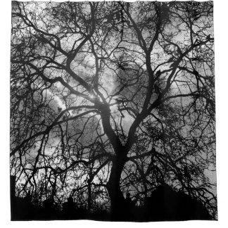 Baum-Silhouette Duschvorhang