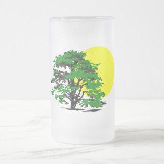 Baum-Silhouette-Einstellung Sun Mattglas Bierglas