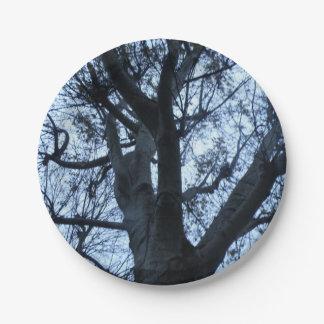 Baum-Silhouette-Fotografie-Papierplatte Pappteller