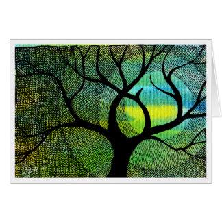 Baum-und Mond-- blaue und gelbe Aquarelle Karte