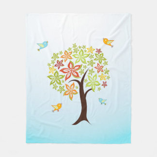Baum und Vögel Fleecedecke