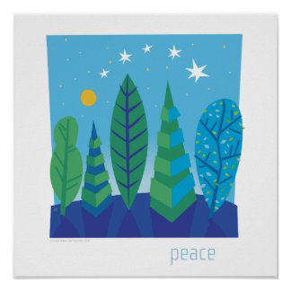 Baum verlässt Friedensplakat Poster
