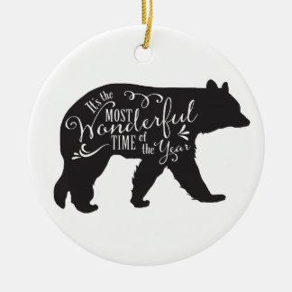 Baum-Verzierung mit Bären Rundes Keramik Ornament