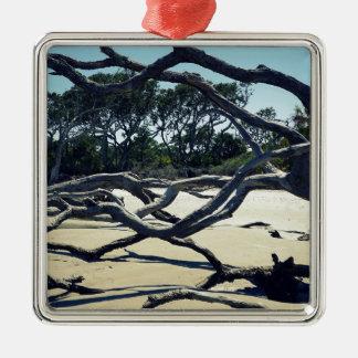 Bäume auf Jekyll Quadratisches Silberfarbenes Ornament
