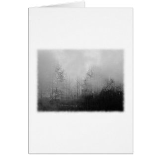 Bäume im Nebel. Schwarzweiss. Karte