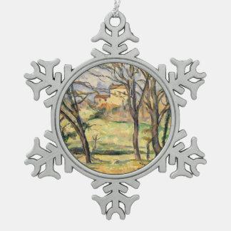 Bäume und Häuser nähern sich Jas de Bouffan Schneeflocken Zinn-Ornament