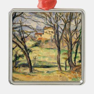 Bäume und Häuser nähern sich Jas de Bouffan Silbernes Ornament