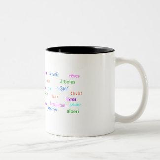 Baumtraumtypographie mehrsprachig zweifarbige tasse