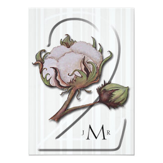 Baumwolle auf Streifen-2. Hochzeitstag 12,7 X 17,8 Cm Einladungskarte