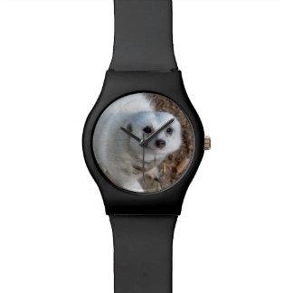 Baumwolle das weiße Meerkat, die schwarzen Damen Uhr
