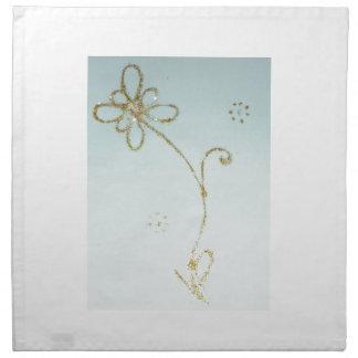 Baumwollservietten mit goldenem Blumenentwurf Stoffserviette