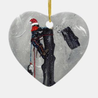 Baumzüchterbaumchirurg-Weihnachtskarte Keramik Herz-Ornament